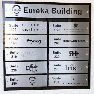 Custom Directory Sign Eureka Building Orange County CA Caliber Signs and Imaging
