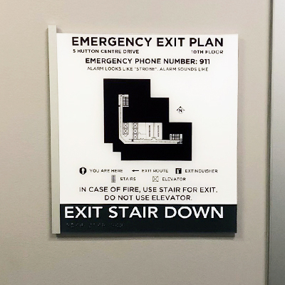 Custom Evacuation Sign Stair Down Sign Irvine CA Caliber Signs and Imaging 1