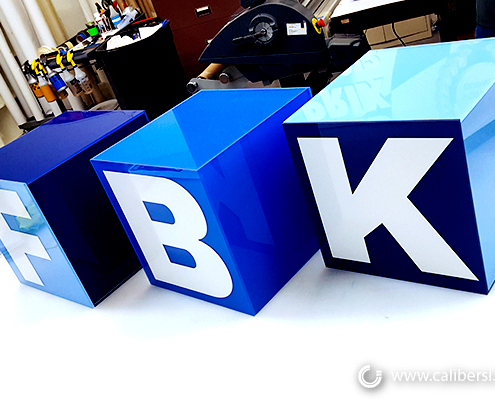 Custom Sign Cubic Sign KBF Standalone Irvine CA Caliber Signs and Imaging