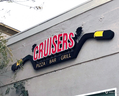 Custom Wall Sign illuminated Sign Cruisers Pizza Sign Caliber Signs and Imaging