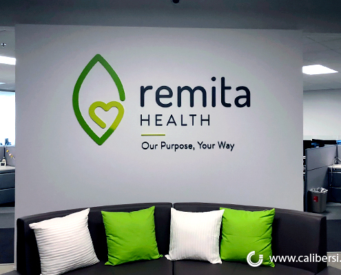 Dimensional Custom Sign 3D Logo Wall sign Remita Health Downey CA Caliber Signs and Imaging