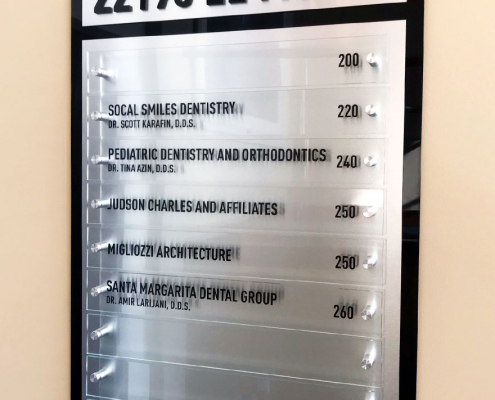Directory Signs with Clear Acrylic Inserts Wall Mounted Signs Rancho Santa Margarita CA Caliber Signs and Imaging