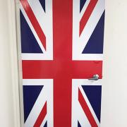 Door Wrap British Flag Door Wrap Irvine CA Caliber Signs and Imaging
