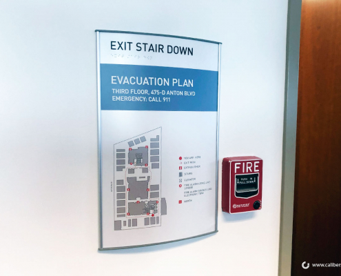 Exit Stair Down Evacuation Sign Experian Caliber Signs and Imaging