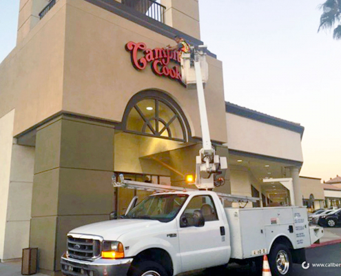 Front Illuminated Sign with Bucket Truck Campitelli Placentia CA Caliber Signs and Imaging