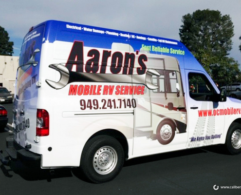 Full Vehicle Wrap Aarons Mobile RV Service Caliber Signs and Imaging