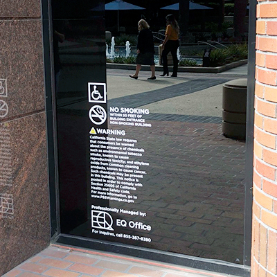 Glass Vinyl Window Signage EQ Prop65 Irvine CA Caliber Signs and Imaging