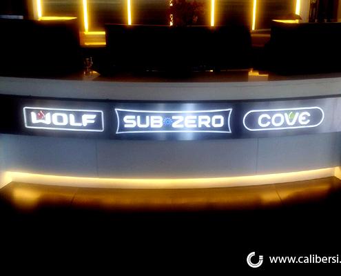 High Quality Sign Custom Lobby Sign illuminated Interior Sign Sub Zero Costa Mesa CA Caliber Signs and Imaging