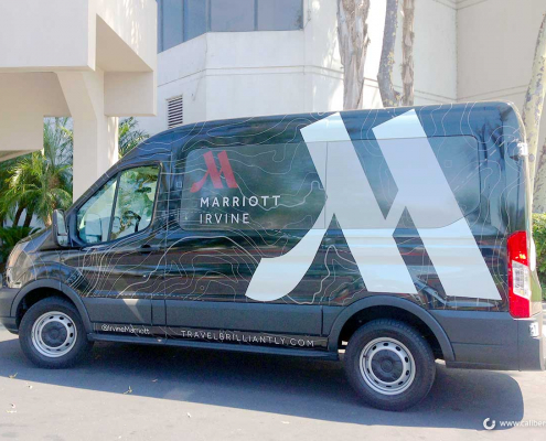 Hotel Fleet Identification Shuttle Wrap Marriot Hotel Vehicle Newport Beach CA Caliber Signs and Imaging