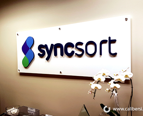 Interior Office Sign Reception Panel Sign Syncsort Irvine CA Caliber Signs and Imaging