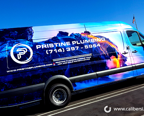 Large Van Full Wrap Corporate Image Wrap Pristine Plumbing Caliber Signs and Imaging