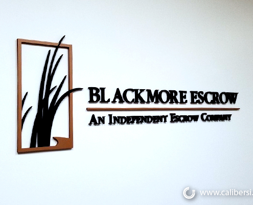 Lobby Sign Reception Sign 3D Logo Blackmore Escrow Caliber Signs and Imaging