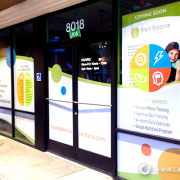 Outdoor Store Window Graphics Perforated Vinyl Brain Balance Caliber Signs and Imaging 1