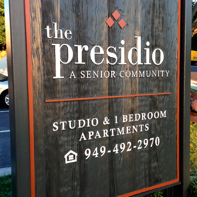 Property Entrance Sign for Apartments Wood Sign Presidio Senior Community Caliber Signs and Imaging