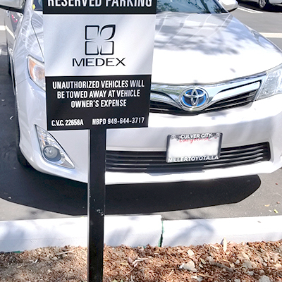 Reserved Parking Sign EQ Newport Beach Caliber Signs and Imaging