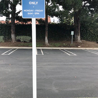 Reserved Parking Sign UCI Pole Sign Anaheim CA Caliber Signs and Imaging 1