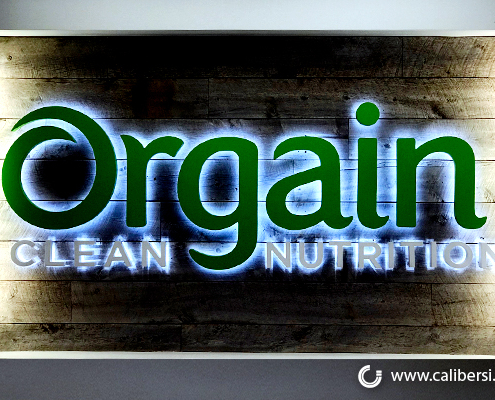 Reverse Channel Letter Corporate Lobby Sign Orgain Nutrition Irvine CA Caliber Signs and Imaging