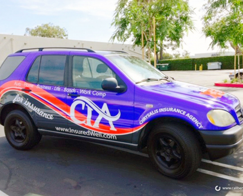 SUV Wrap Vehicle identifitaion Chrysalis Insurance Agency Caliber Signs and Imaging