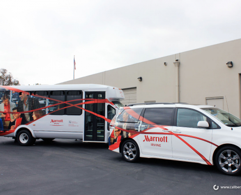 Shuttle Wrap Hotel Fleet Identification Marriot Hotel Vehicle Newport Beach CA Caliber Signs and Imaging
