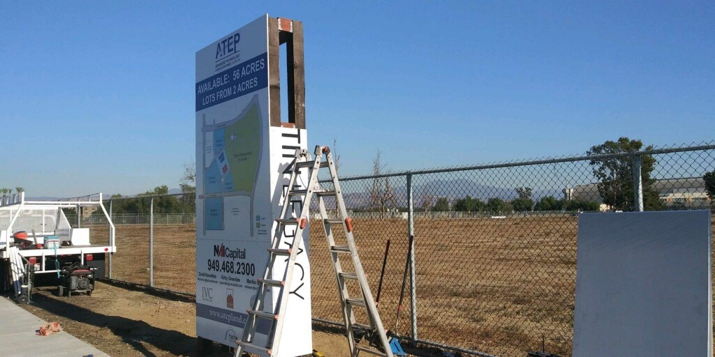 Custom Built Commercial Real Estate For Lease Sign in Tustin CA