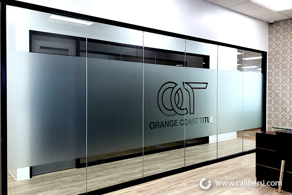 Frosted Logo Glass Graphics in Orange County CA