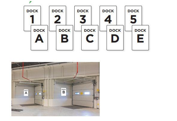 Aisle and Dock Numbers and Letters for Warehouses