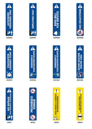 Workplace Admittance and Evacuation Signs