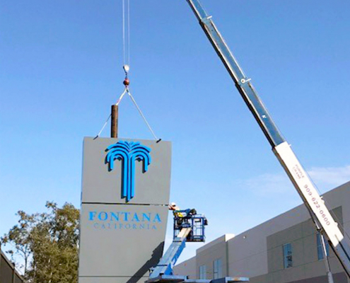 Assembling a Very Tall Monument Sign