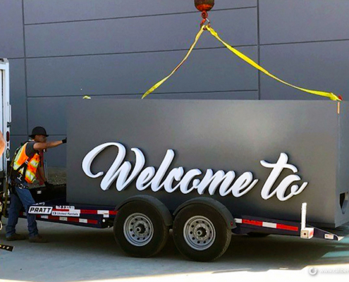 Installing a Giant Monument Sign
