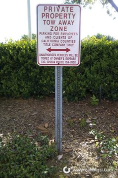 Private property tow away signs in Orange County CA