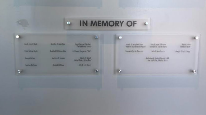 In Memory Of Dedication Wall Signs in Orange County CA