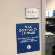Maximum Occupancy Signs for Offices Reopending in Orange County CA