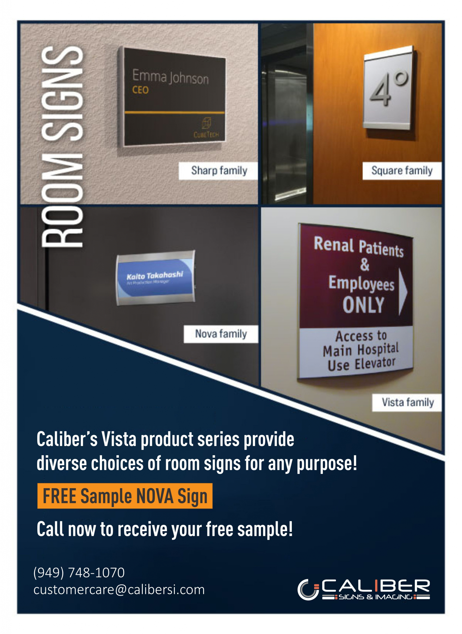 room signs from Vista Systems in Orange County CA