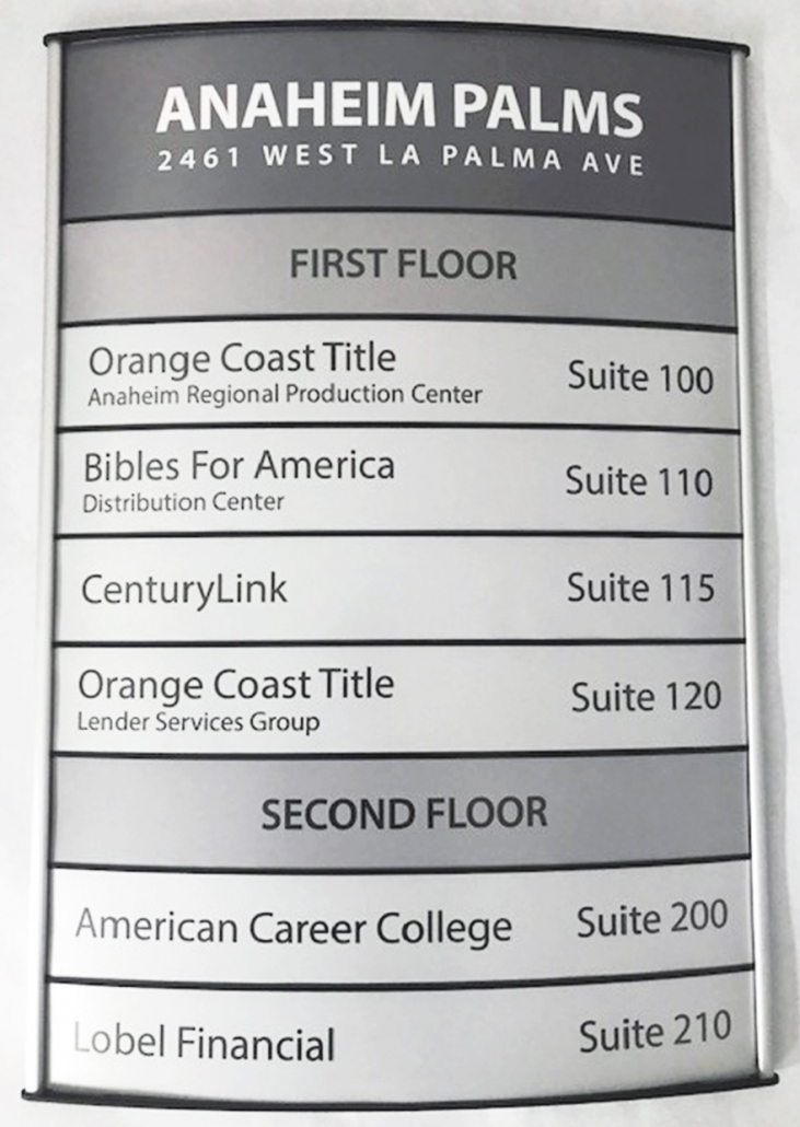 Directory and Wayfinding Signs in Orange County CA