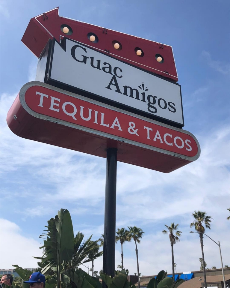 refurbished double sided pylon sign in newport beach ca